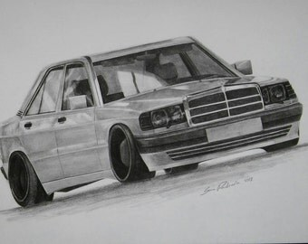 Mercedes W201 (190) Original pencil drawing. Free shipping