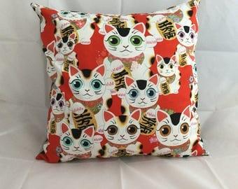 Maneki-neko Japanese lucky cat cushion cover