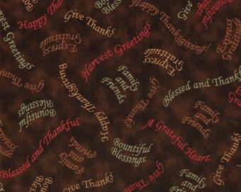 Thanksgiving Words - Bountiful Blessings Collection by Quilting Treasures- 100% Cotton High Quality Quilting Fabric