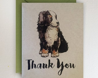 Bernese Mountain Dog  - Thank You Card / Puppy