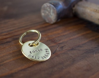 Lowercase Personalized Hand Stamped Brass Cat Tag // Custom Pet ID - Cat ID Tag - Cat Collar Name Tag - Dog ID Tag - Metal Pet Tag