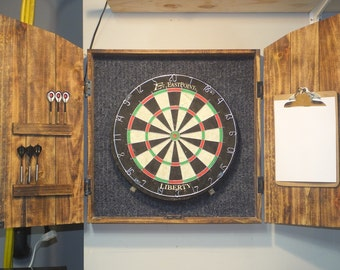 Dartboard Cabinet with dartboard, rustic cabinet, barn style, darts, man cave