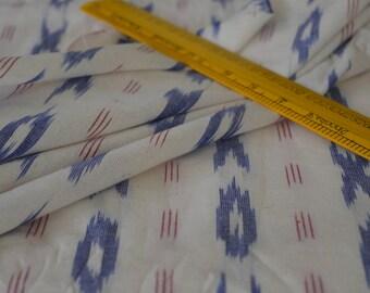 White and Blue IKAT Fabric, Indian Fabric, Ikat Fabric, Cotton Fabric, Fabric by Yard, Fashion & Apparels Fabric, Upholstery Fabric