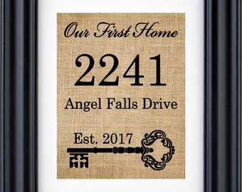 Our first Home Sign, Housewarming Gift, Personalized Address Sign, New House Gift, New Homeowner gifts - Our First Home Burlap Print- 1L