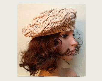 Beige MANON Crocheted Beret - Hand Made Crocheted Beret -  Beige Hat - Woman Hat - Ready To Ship