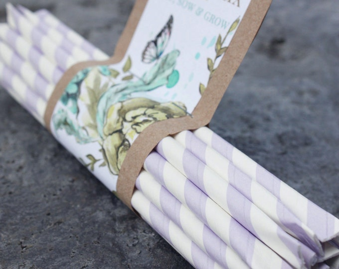 BLOOM STIX Wildflower Seed Favors / Seed Packets: LAVENDER Stripe Bulk Biodegradable