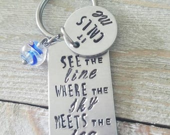 "Inspired by Moana Keychain, ""See the line where the sky meets the sea, it calls me"""