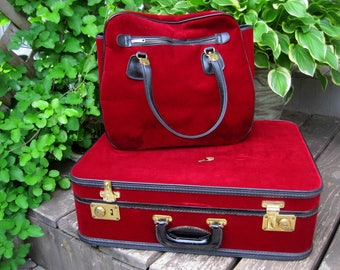 Vintage Suitcase Set,  Red Velvet and Black Leather, Stylite Gralnick & Son Luggage, Lock w/ Key, Old Suitcase, Display or Prop