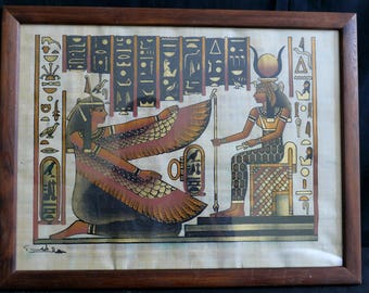 Egyptian Painting in old wooden frame | Isis | Egyptian Gods | Egyptian Art | Ancient Egypt | Papyrus | Framed Egyptian Painting