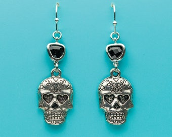 Sugar Skull Earrings, Skull with Heart Earrings, Black Crystal Earrings, Day of the Dead, Dangle Earrings, Gifts for Her, 326