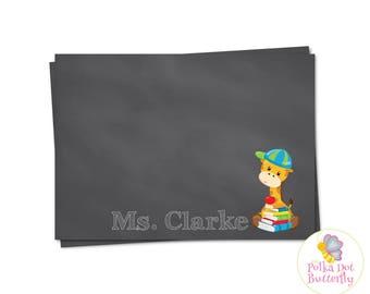 Teacher Stationery, Teacher Note Card, Giraffe Note Card, Giraffe Stationery, Chalkboard Stationery, Chalkboard Note Cards, Printable Note