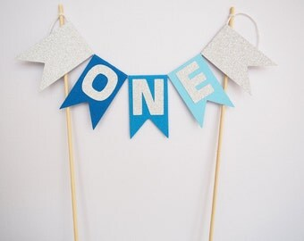 Ombre blue and silver glitter glitter 'ONE' cake bunting || cake topper first birthday birthday decor 1st birthday