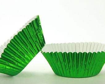 50pc Standard Size Green Foil Baking Cup With Greaseproof Liner
