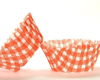 50pc Standard Size Orange Gingham/Plaid Baking Cup With Greaseproof Liner