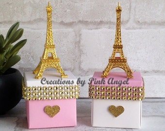 Set of 6 Paris Birthday Favors, Pink and Gold Paris Baby Shower Favors, Paris Wedding Favors, Gold and Pink Eiffel Tower Favors