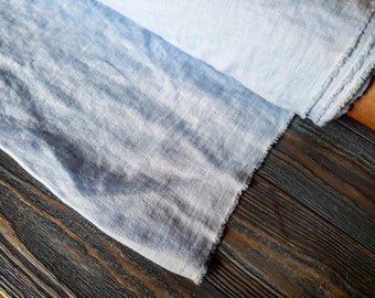 Softened light blue linen fabric by the meter, natural linen sky blue fabric, washed stonewashed baby blue linen fabric by the yard 7oz