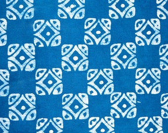 Batik cotton fabric of blue squares of African fabric