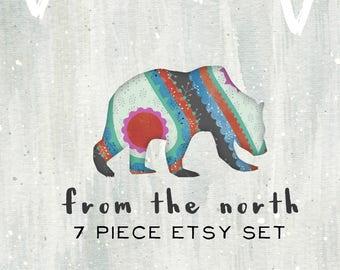 Etsy Shop Set-Bear Etsy Banner-Winter Etsy Set-Animal Etsy Set-Branding-FREE font changes