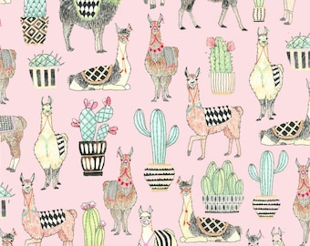 Michael Miller - Pink Lovely LLamas - Fabric by the yard