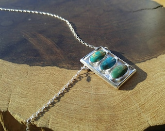 Beautiful Triple Kingman Turquoise Sterling Silver Necklace Textured Setting, Handmade Quality Made