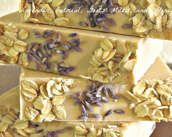 Goats Milk Soap - Homemade Soap - Lavender, Goats Milk, Oatmeal, and Honey Soap - Natural Soap Bars - Fresh Soap - Cold Process Soap Bars