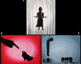 Buy TWO get SECOND painting 50% off, Silhouette Art, Silhouette Painting, Silhouette Artwork, Silhouette Paintings, 11x14 Painting