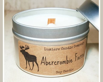 ABERCROMBIE FIERCE COLOGNE type scent! - Wood or Traditional Wick - Soy Candle - Lumière Candle Company - Travel Tin