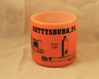 Gettysburg Pennsylvania Federal Glass Milk Glass Civil War Memorial Coffee Mug Tea Cup 1960's Orange Blue Gift Collectible