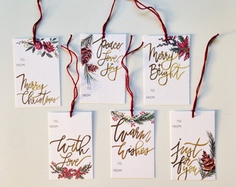 Christmas Gift Tags- Watercolor and Hand Lettering