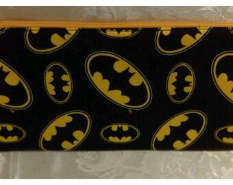 Free shipping batman pencil case with yellow zipper 100% Cotton