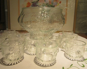 Jeannette Glass Fruit Pattern Punch Bowl Set Vintage 1960's 14pc Set Entertaining Dining Serving Collectible Drinkware Barware