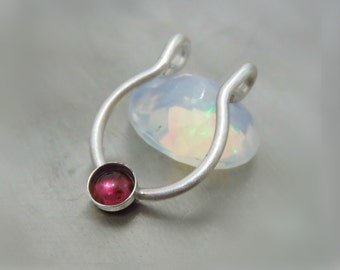 sterling silver fake nose ring / septum cuff - faux piercing / septum ring fake
