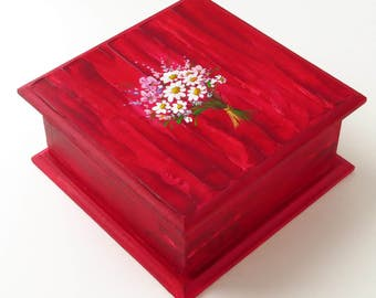 Burgundy jewelry box Handpainted jewelry box wood Large jewelry box Red home decor Treasure box red Square jewelry box with daisies
