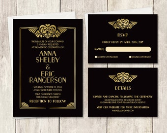 Art Deco Wedding Invitation Set / Great Gatsby Roaring Twenties 1920s / Black and Gold  ▷ Printed Wedding Invitations {or} Printable