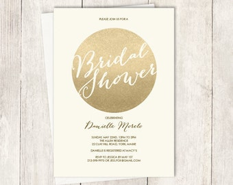 Gold Sparkle Bridal Shower Invitation / Metallic Gold and Cream / Champagne Gold  ▷ Printed Heavy Paper {or} Printable
