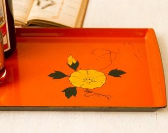 Vintage Orange Serving Tray with Yellow Flower Detail (c.1960's) RETRO MOD Bar Tray / 1960's Decor, Mid Century Plastic