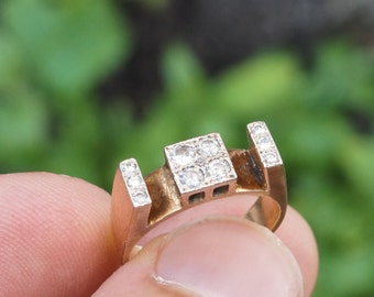 Vintage 1970s .38ct Diamond Cluster Engagement Ring in Two-Tone 9ct Gold