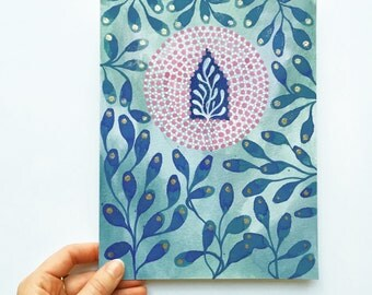 Original painting, gouache on art paper - Blue faience cocoon house - 24 x 18 cm - Protection, harmony, link to nature
