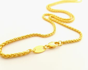 22 inch 18ct gold filled Braided Wheat Rope Chain Necklace