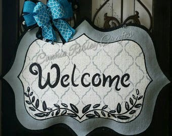 Welcome Burlap Door Hanger