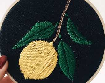 Lemon Embroidery Hoop