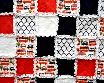 London, Red, White & Black Ragged Edge Quilt