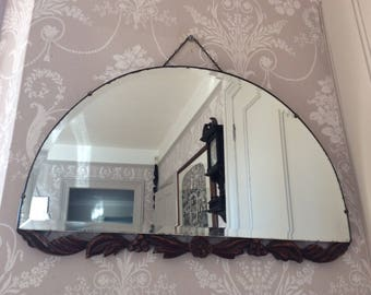 Vintage 1930-40s Half Moon Bevelled Edge Art Deco Mirror
