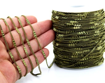 10 meters ( 33 Feet ) Wire Thickness : 0.40 mm Chain, Antique Bronze Tone, Free Yes