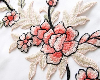 Large Flower Patch,Peach Flowers Applique,Beige  Flowers  With Lurex Applique,Flower Branch Patch,Sew On Patch,