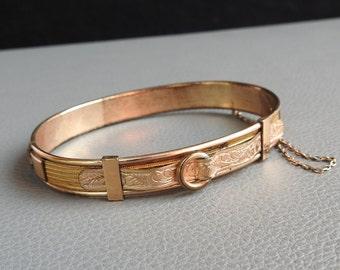 Vintage Art Nouveau Gold Plated Victorian Buckle Clamper Bangle Bracelet