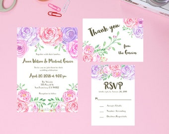 Digital file only - Floral watercolor wedding invitations, rsvp, and thank you card