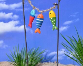 Hanging Fish on String for Miniature Garden, Fairy Garden
