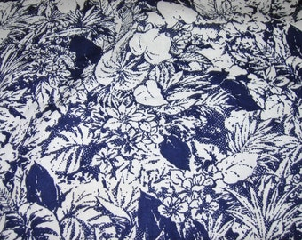 Cotton Blend Fabric, Navy Blue and White Floral, 1 Yard Or More