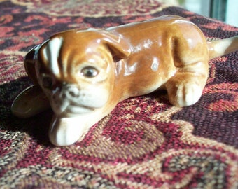 Goebel Dog Figurine - Boxer Puppy - Brown and White - West Germany - 1960's - glaze imperfection